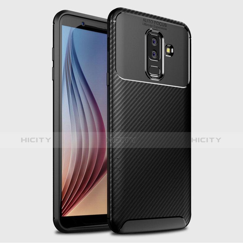 Samsung Galaxy A6 Plus用シリコンケース ソフトタッチラバー ツイル カバー サムスン ブラック