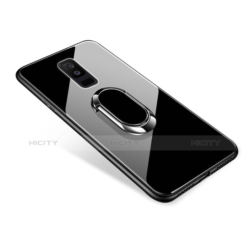 Samsung Galaxy A6 Plus用ハイブリットバンパーケース プラスチック 鏡面 カバー アンド指輪 サムスン ブラック