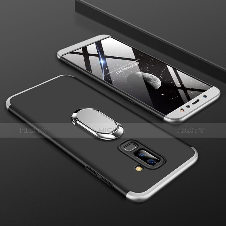 Samsung Galaxy A6 Plus用ハードケース プラスチック 質感もマット 前面と背面 360度 フルカバー アンド指輪 サムスン シルバー