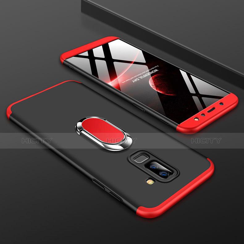 Samsung Galaxy A6 Plus用ハードケース プラスチック 質感もマット 前面と背面 360度 フルカバー アンド指輪 サムスン レッド・ブラック
