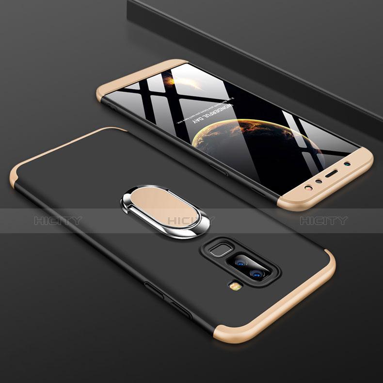 Samsung Galaxy A6 Plus用ハードケース プラスチック 質感もマット 前面と背面 360度 フルカバー アンド指輪 サムスン ゴールド・ブラック