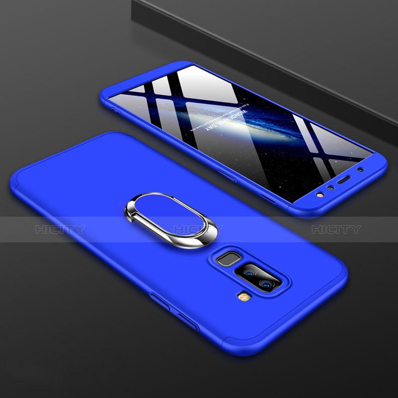 Samsung Galaxy A6 Plus用ハードケース プラスチック 質感もマット 前面と背面 360度 フルカバー アンド指輪 サムスン ネイビー