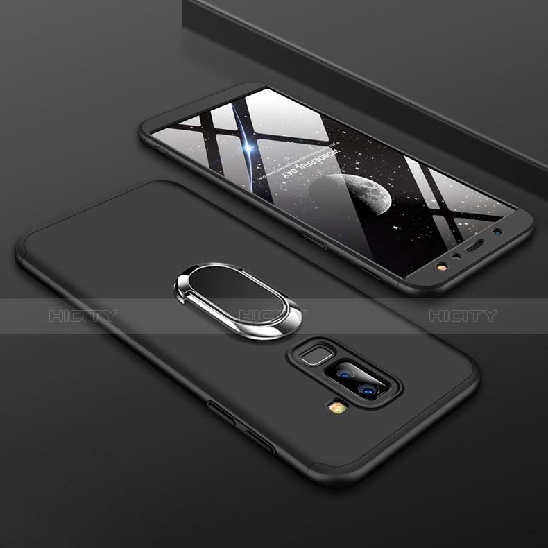 Samsung Galaxy A6 Plus用ハードケース プラスチック 質感もマット 前面と背面 360度 フルカバー アンド指輪 サムスン ブラック