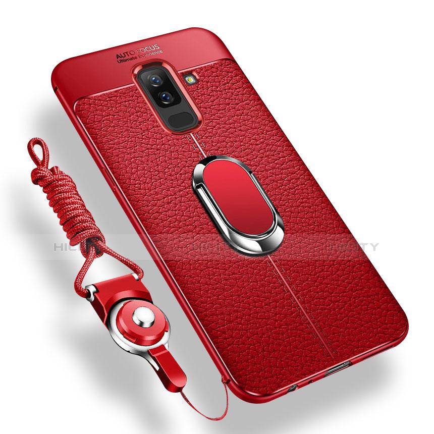 Samsung Galaxy A6 Plus用極薄ソフトケース シリコンケース 耐衝撃 全面保護 アンド指輪 マグネット式 バンパー サムスン レッド