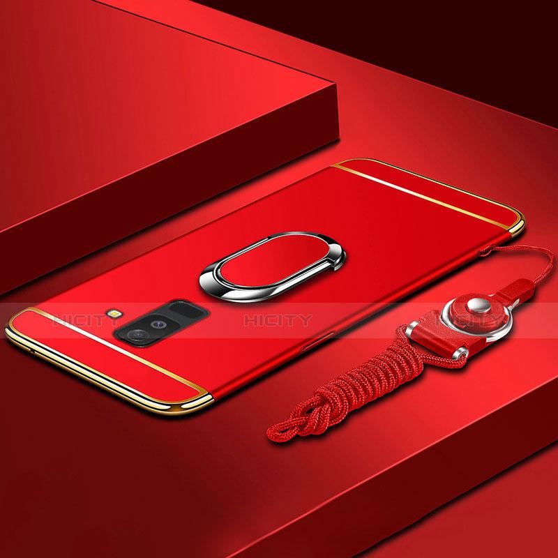 Samsung Galaxy A6 Plus用ケース 高級感 手触り良い メタル兼プラスチック バンパー アンド指輪 亦 ひも サムスン レッド