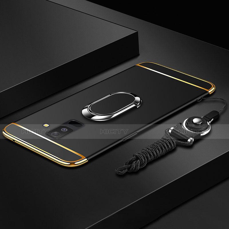 Samsung Galaxy A6 Plus用ケース 高級感 手触り良い メタル兼プラスチック バンパー アンド指輪 亦 ひも サムスン ブラック