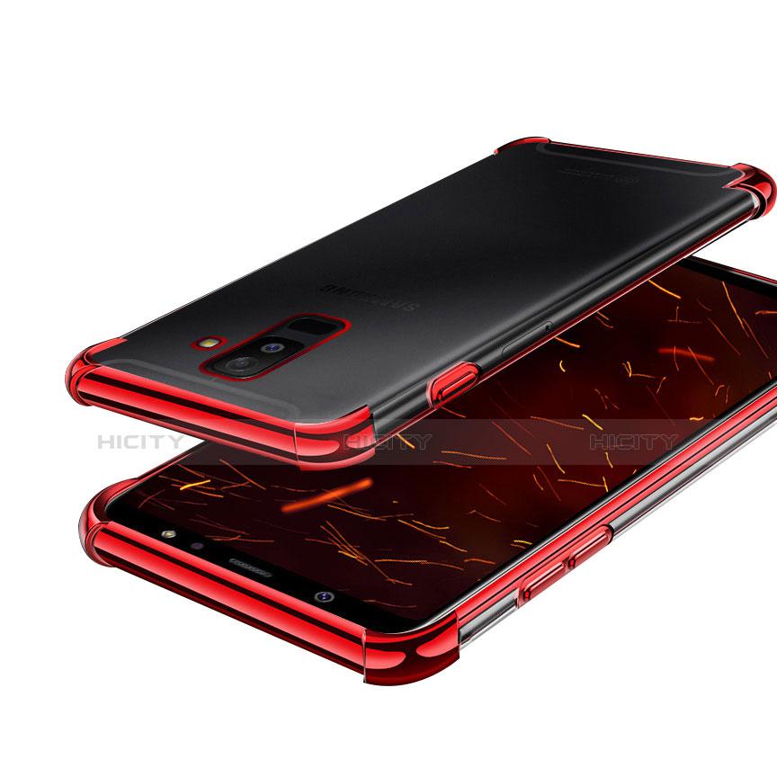 Samsung Galaxy A6 Plus用極薄ソフトケース シリコンケース 耐衝撃 全面保護 クリア透明 H01 サムスン レッド
