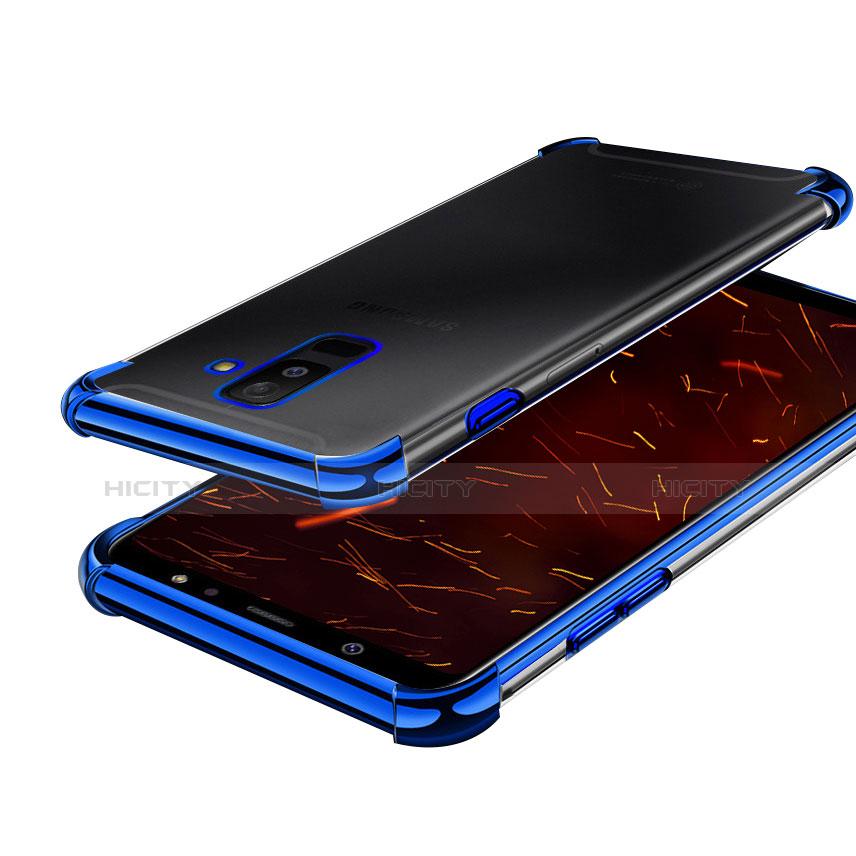 Samsung Galaxy A6 Plus用極薄ソフトケース シリコンケース 耐衝撃 全面保護 クリア透明 H01 サムスン ネイビー