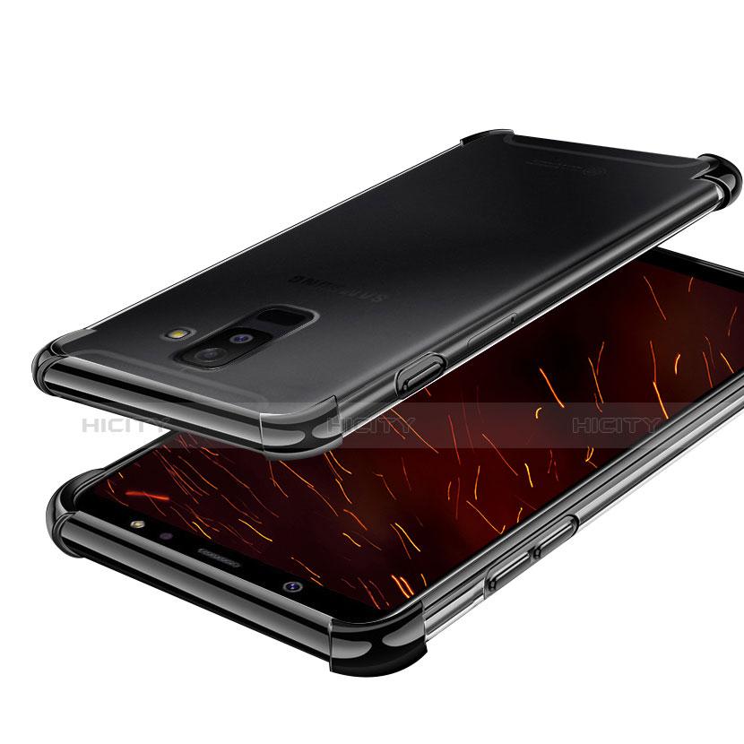 Samsung Galaxy A6 Plus用極薄ソフトケース シリコンケース 耐衝撃 全面保護 クリア透明 H01 サムスン ブラック