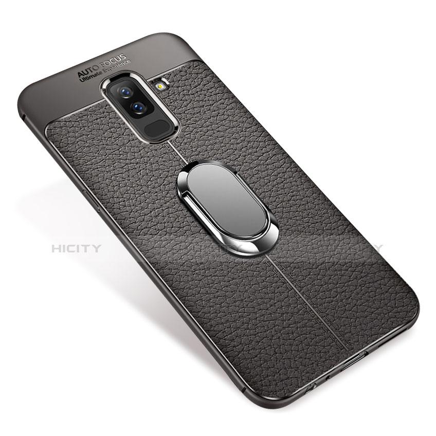 Samsung Galaxy A6 Plus用極薄ソフトケース シリコンケース 耐衝撃 全面保護 アンド指輪 マグネット式 バンパー S01 サムスン グレー