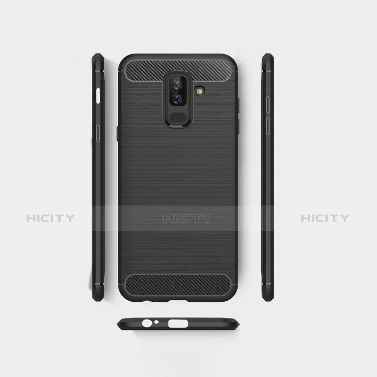 Samsung Galaxy A6 Plus用シリコンケース ソフトタッチラバー ツイル サムスン ブラック