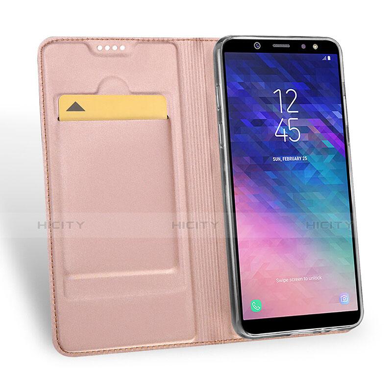 Samsung Galaxy A6 Plus用手帳型 レザーケース スタンド サムスン ピンク