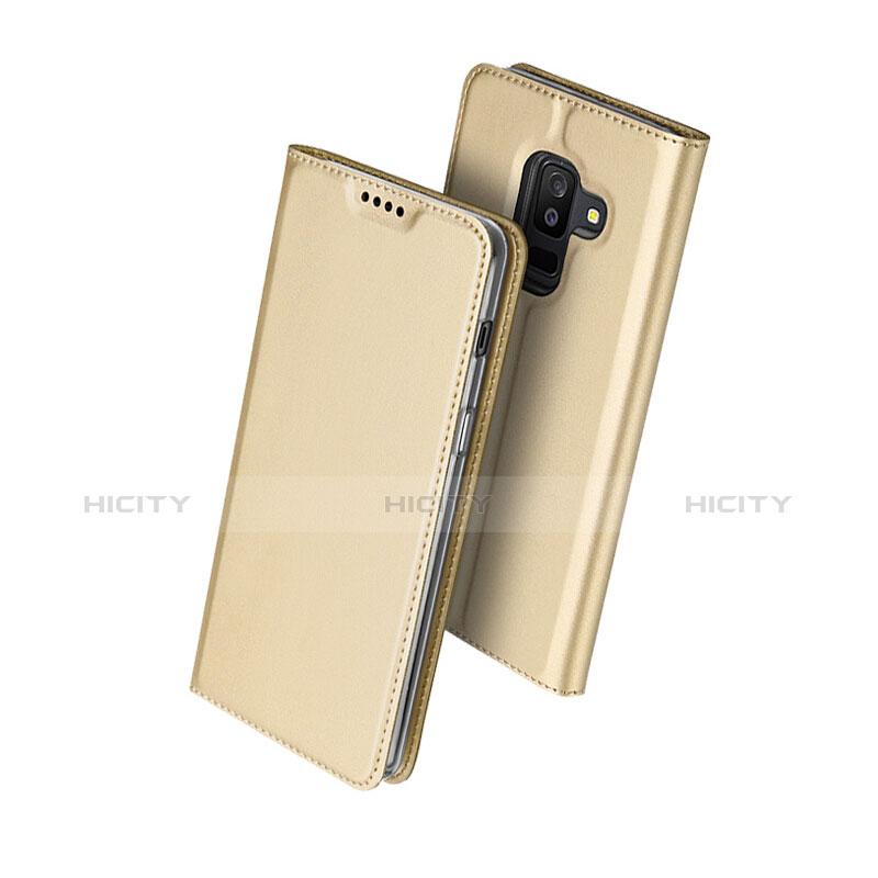 Samsung Galaxy A6 Plus用手帳型 レザーケース スタンド サムスン ゴールド