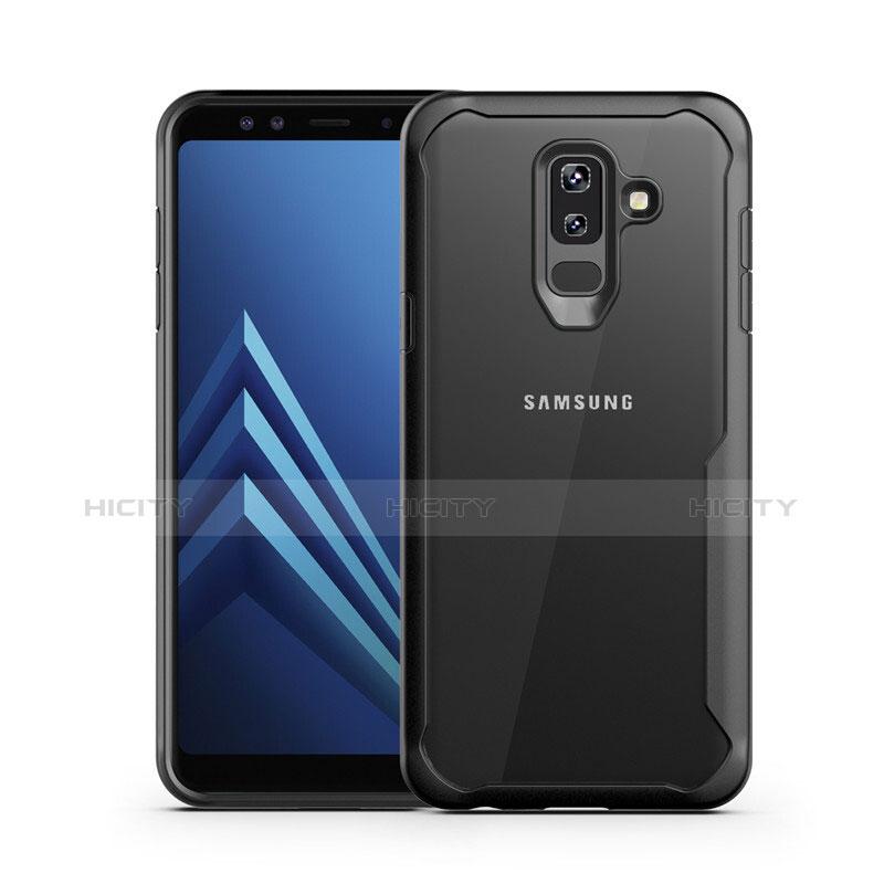 Samsung Galaxy A6 Plus用ハイブリットバンパーケース クリア透明 プラスチック 鏡面 サムスン ブラック
