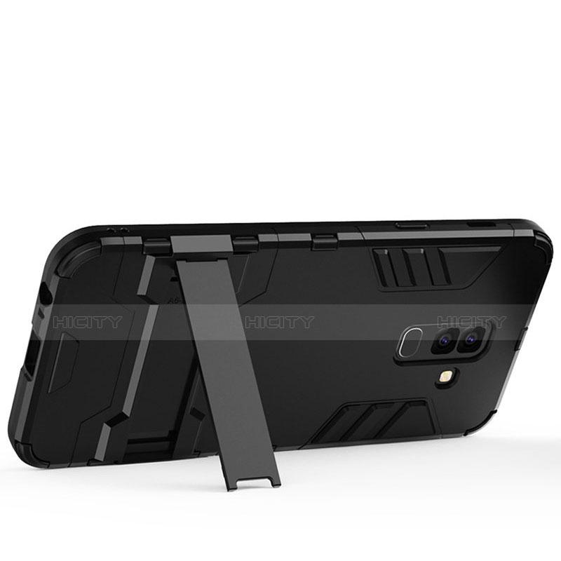 Samsung Galaxy A6 Plus用ハイブリットバンパーケース スタンド プラスチック 兼シリコーン サムスン ブラック