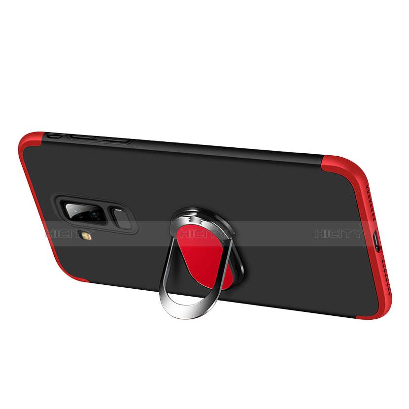 Samsung Galaxy A6 Plus用ハードケース プラスチック 質感もマット 前面と背面 360度 フルカバー アンド指輪 Q01 サムスン レッド・ブラック