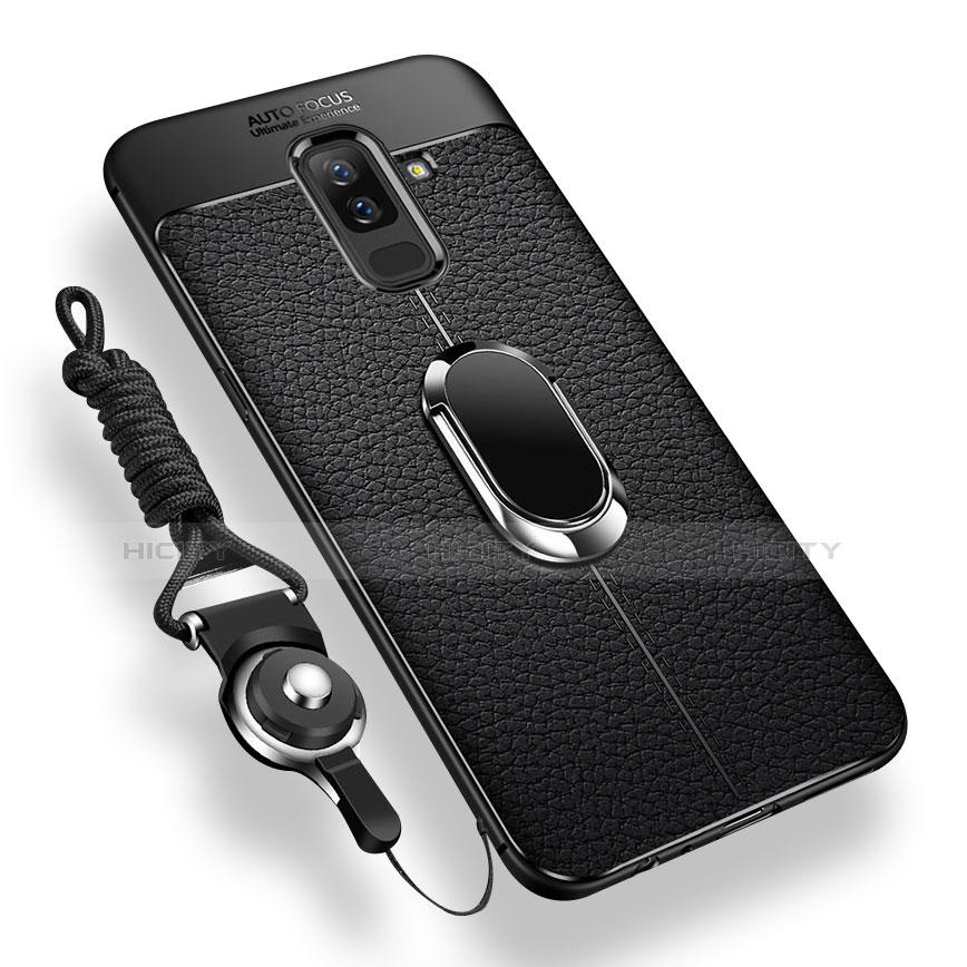 Samsung Galaxy A6 Plus用極薄ソフトケース シリコンケース 耐衝撃 全面保護 アンド指輪 マグネット式 Q02 サムスン ブラック