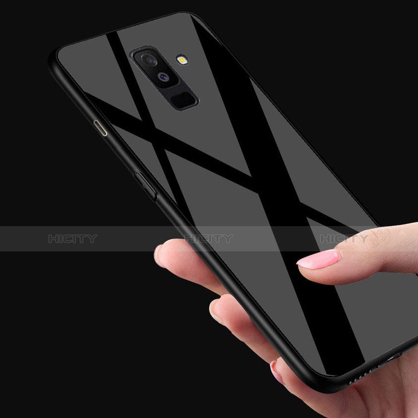 Samsung Galaxy A6 Plus用360度 フルカバーハイブリットバンパーケース クリア透明 プラスチック 鏡面 T02 サムスン ブラック