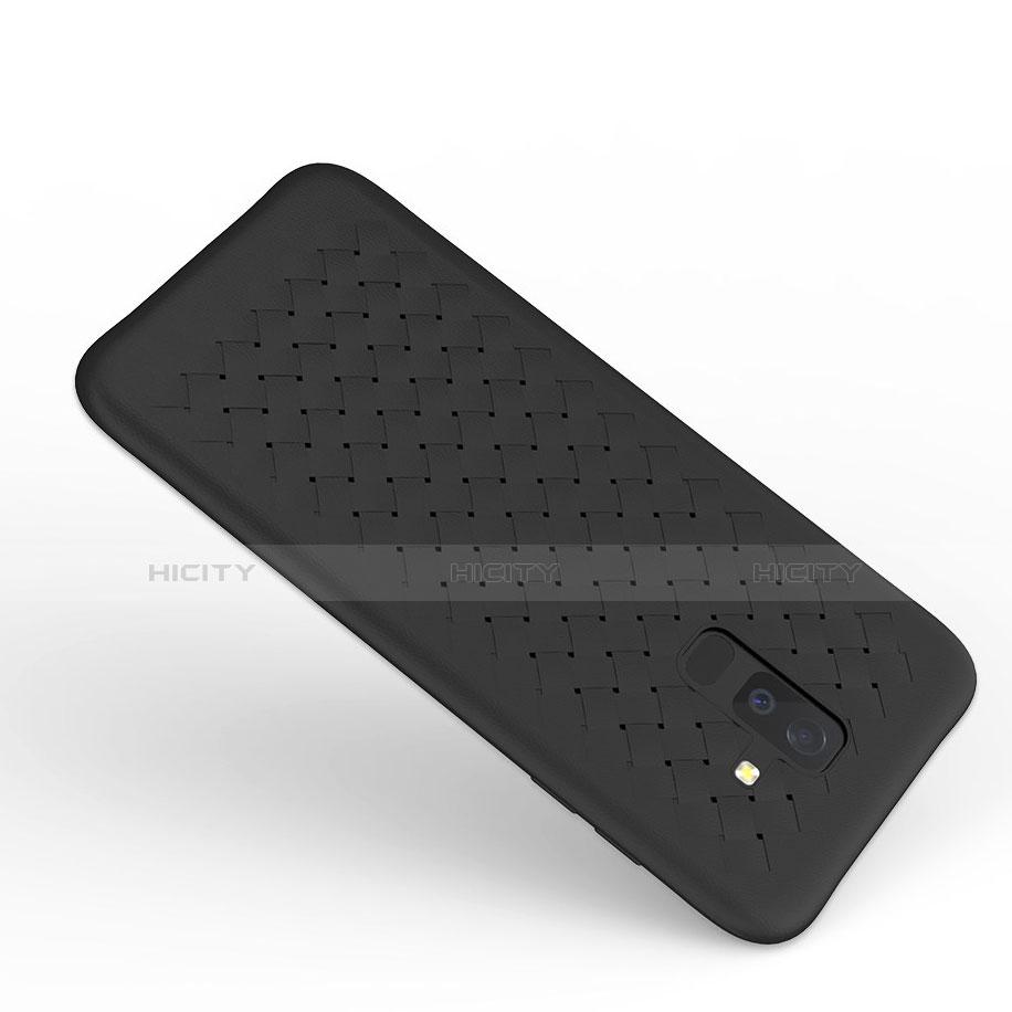 Samsung Galaxy A6 Plus用シリコンケース ソフトタッチラバー ツイル B02 サムスン ブラック
