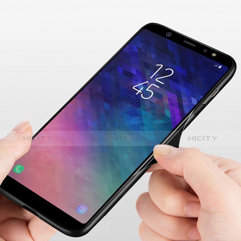Samsung Galaxy A6 Plus用360度 フルカバーハイブリットバンパーケース クリア透明 プラスチック 鏡面 T03 サムスン ブラック