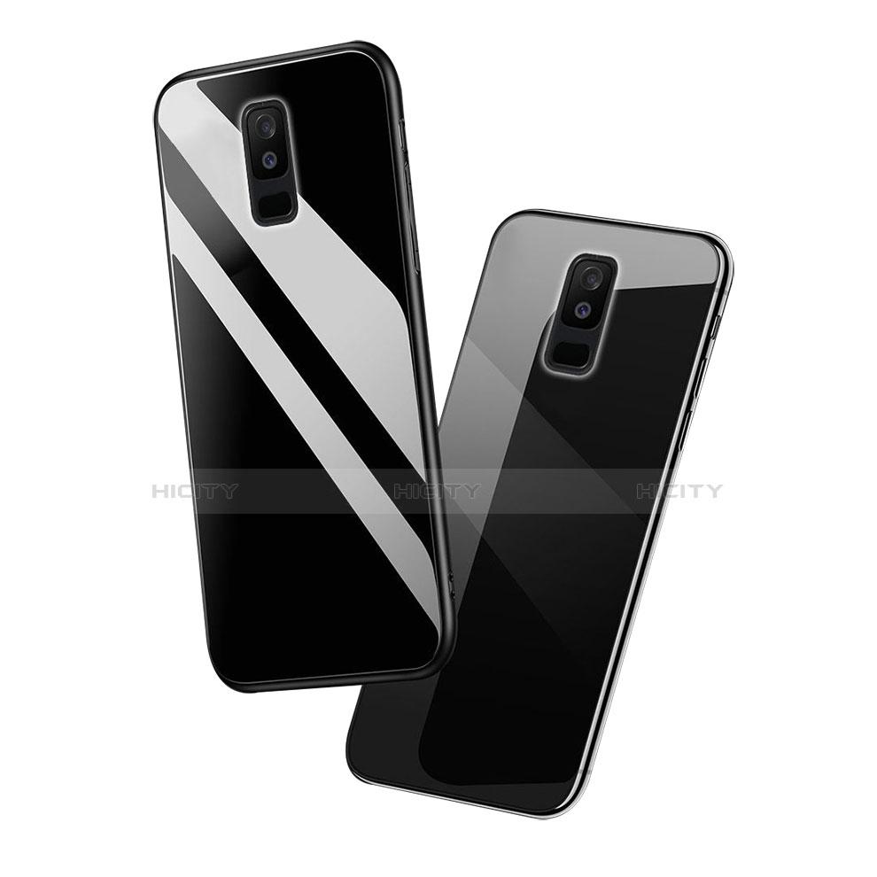 Samsung Galaxy A6 Plus用ハイブリットバンパーケース プラスチック 鏡面 カバー アンド指輪 サムスン