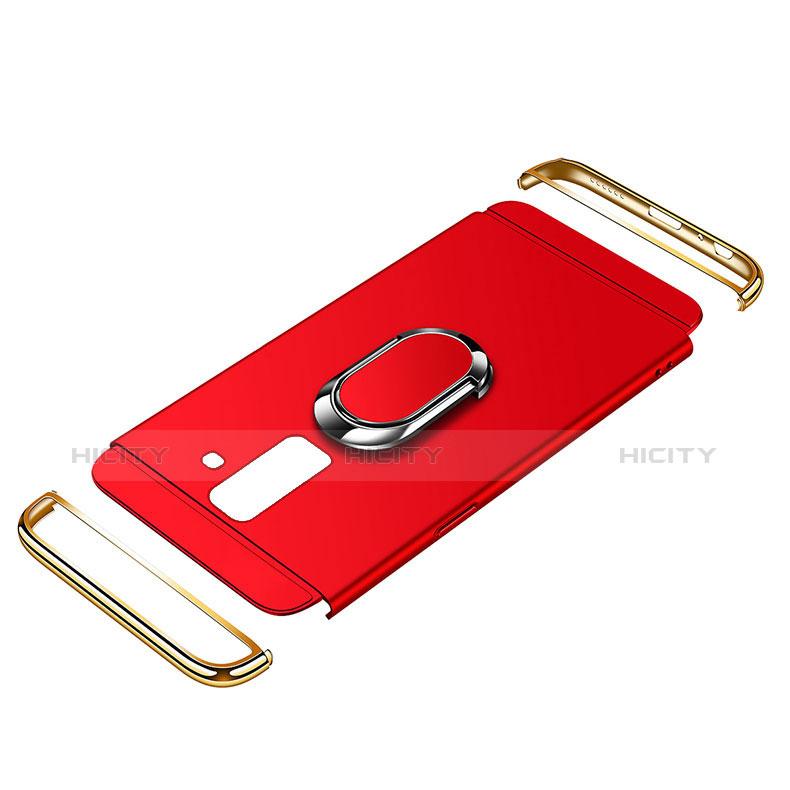 Samsung Galaxy A6 Plus用ケース 高級感 手触り良い メタル兼プラスチック バンパー アンド指輪 亦 ひも サムスン