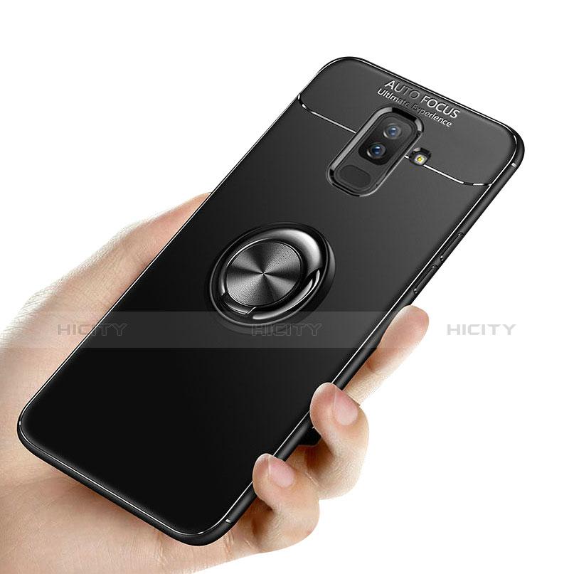 Samsung Galaxy A6 Plus用極薄ソフトケース シリコンケース 耐衝撃 全面保護 アンド指輪 バンパー サムスン