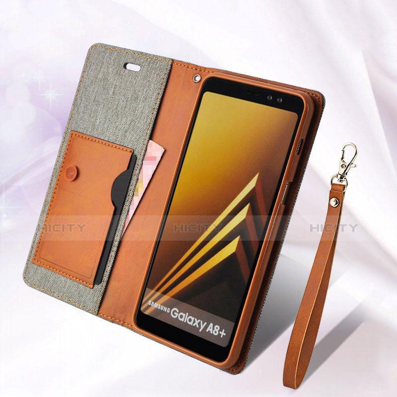 Samsung Galaxy A8 (2018) A530F用手帳型 レザーケース スタンド L01 サムスン グレー