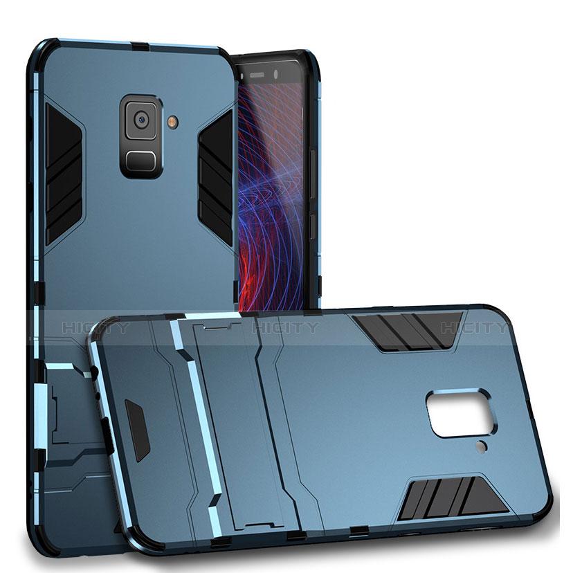 Samsung Galaxy A8 (2018) A530F用ハイブリットバンパーケース スタンド プラスチック 兼シリコーン サムスン シアン