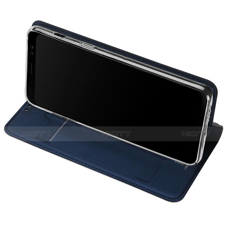 Samsung Galaxy A8 (2018) Duos A530F用手帳型 レザーケース スタンド サムスン ネイビー