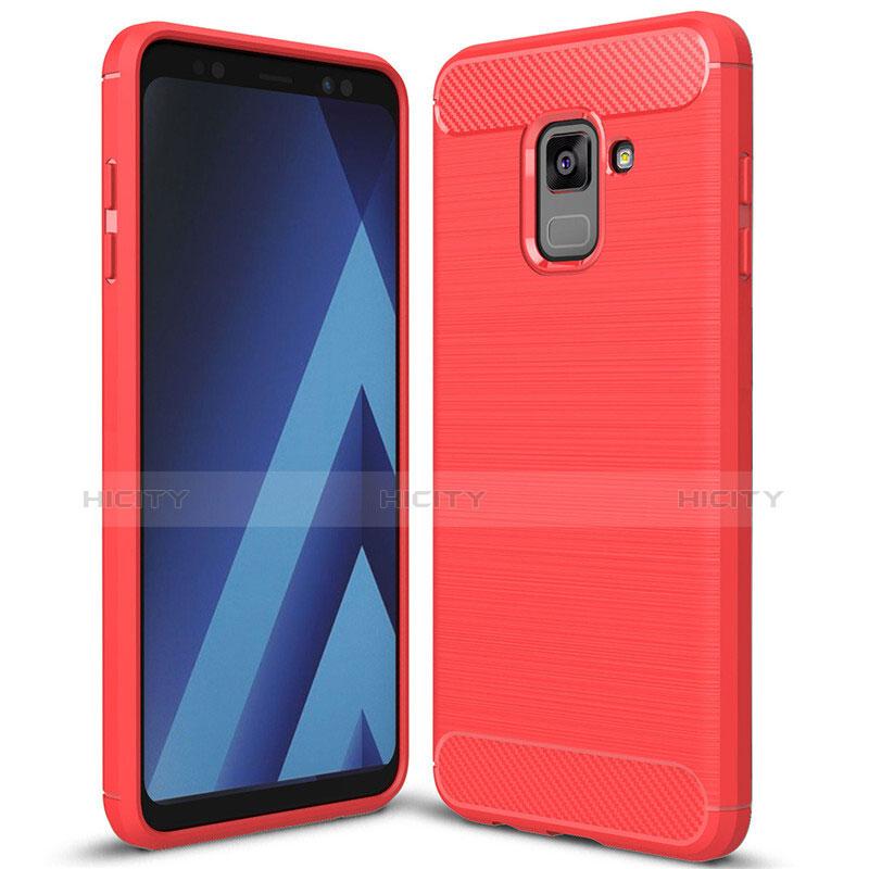 Samsung Galaxy A8+ A8 Plus (2018) A730F用シリコンケース ソフトタッチラバー ツイル カバー サムスン レッド