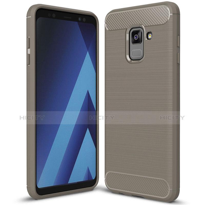 Samsung Galaxy A8+ A8 Plus (2018) A730F用シリコンケース ソフトタッチラバー ツイル カバー サムスン グレー