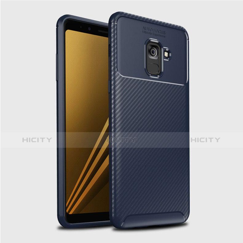 Samsung Galaxy A8+ A8 Plus (2018) A730F用シリコンケース ソフトタッチラバー ツイル カバー S01 サムスン ネイビー