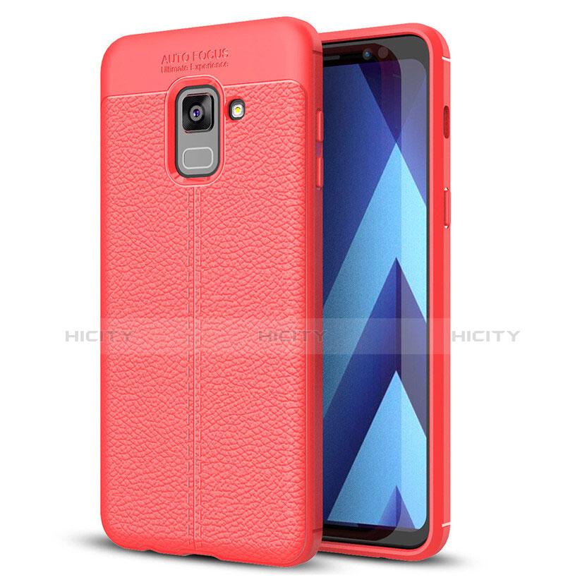 Samsung Galaxy A8+ A8 Plus (2018) A730F用シリコンケース ソフトタッチラバー レザー柄 サムスン レッド
