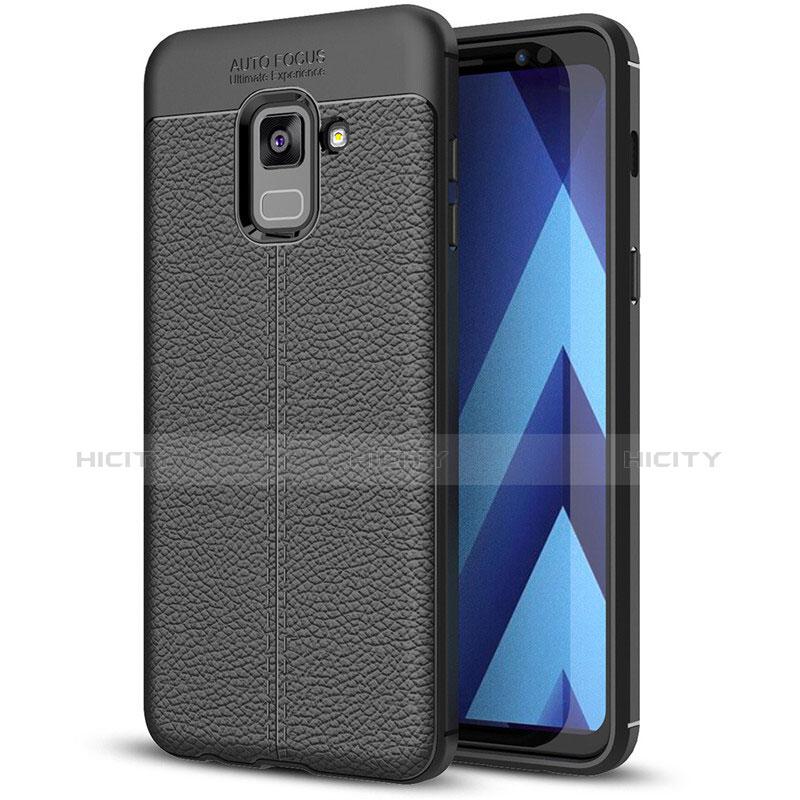 Samsung Galaxy A8+ A8 Plus (2018) A730F用シリコンケース ソフトタッチラバー レザー柄 サムスン ブラック