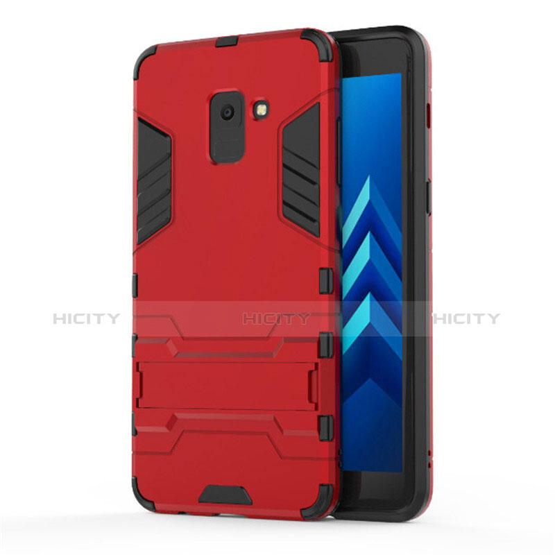 Samsung Galaxy A8+ A8 Plus (2018) A730F用ハイブリットバンパーケース スタンド プラスチック 兼シリコーン サムスン レッド