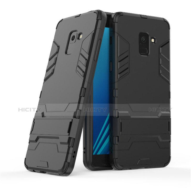 Samsung Galaxy A8+ A8 Plus (2018) A730F用ハイブリットバンパーケース スタンド プラスチック 兼シリコーン サムスン ブラック