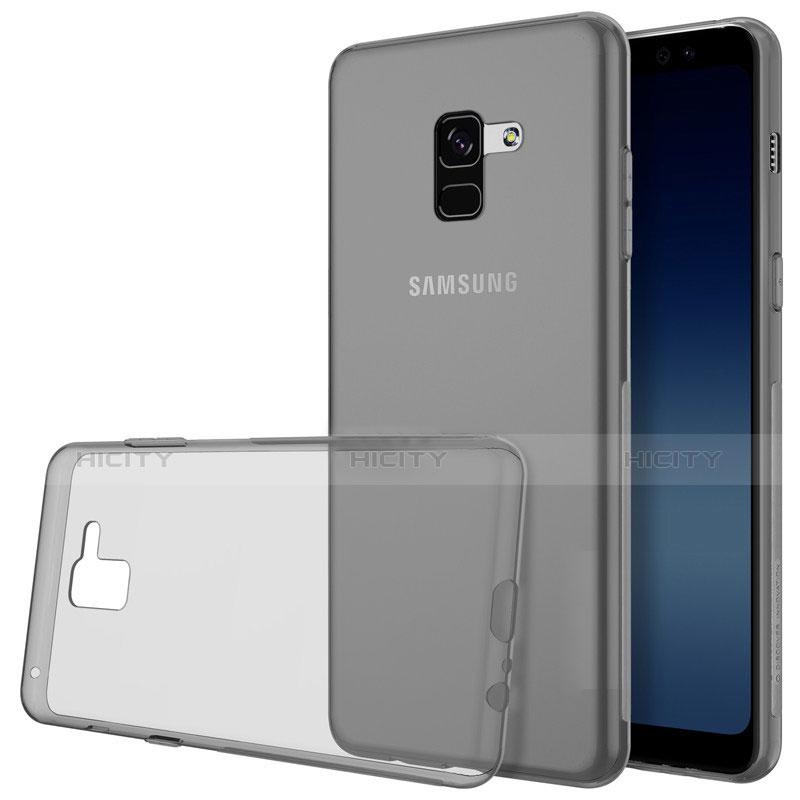 Samsung Galaxy A8+ A8 Plus (2018) A730F用極薄ソフトケース シリコンケース 耐衝撃 全面保護 クリア透明 T02 サムスン グレー