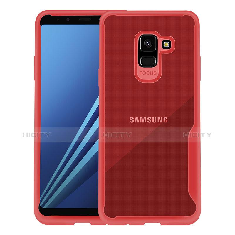 Samsung Galaxy A8+ A8 Plus (2018) A730F用バンパーケース クリア透明 サムスン レッド