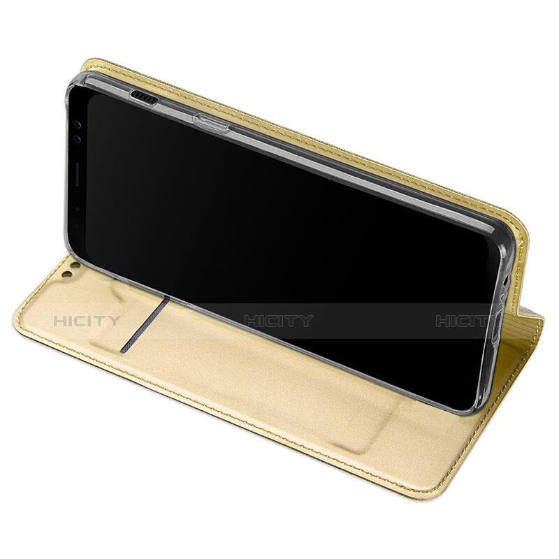 Samsung Galaxy A8+ A8 Plus (2018) A730F用手帳型 レザーケース スタンド サムスン ゴールド