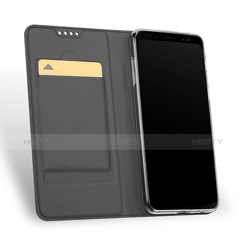 Samsung Galaxy A8+ A8 Plus (2018) A730F用手帳型 レザーケース スタンド サムスン ブラック