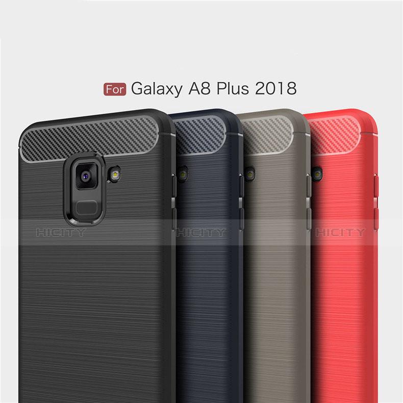 Samsung Galaxy A8+ A8 Plus (2018) A730F用シリコンケース ソフトタッチラバー ツイル カバー サムスン