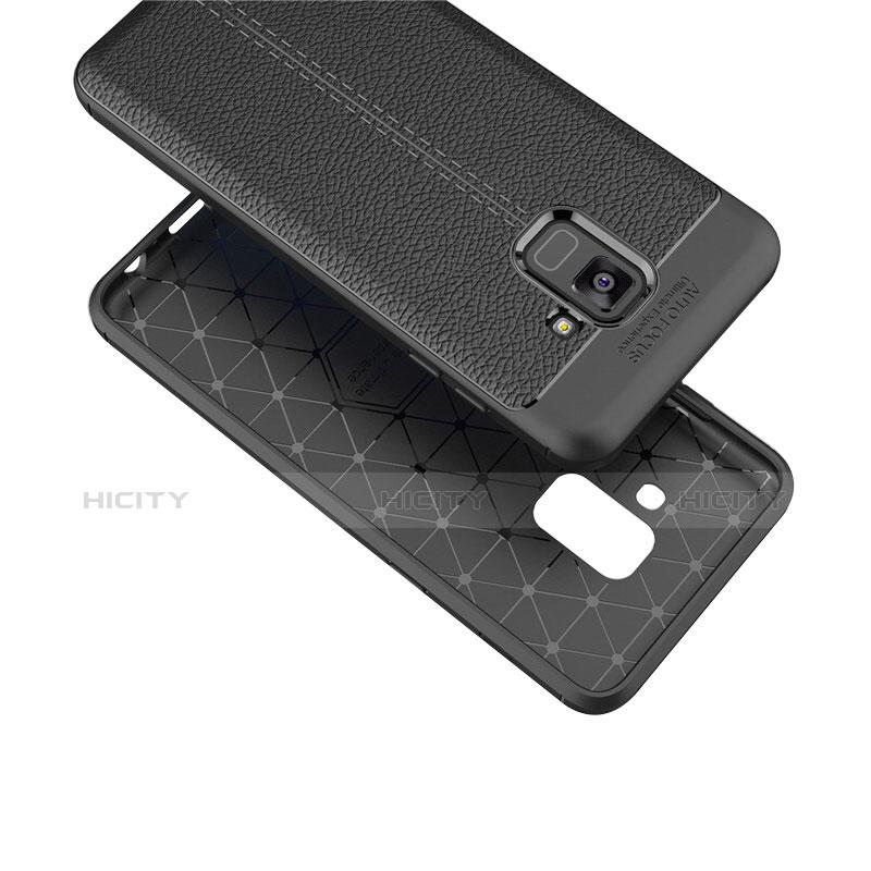 Samsung Galaxy A8+ A8 Plus (2018) A730F用シリコンケース ソフトタッチラバー レザー柄 サムスン