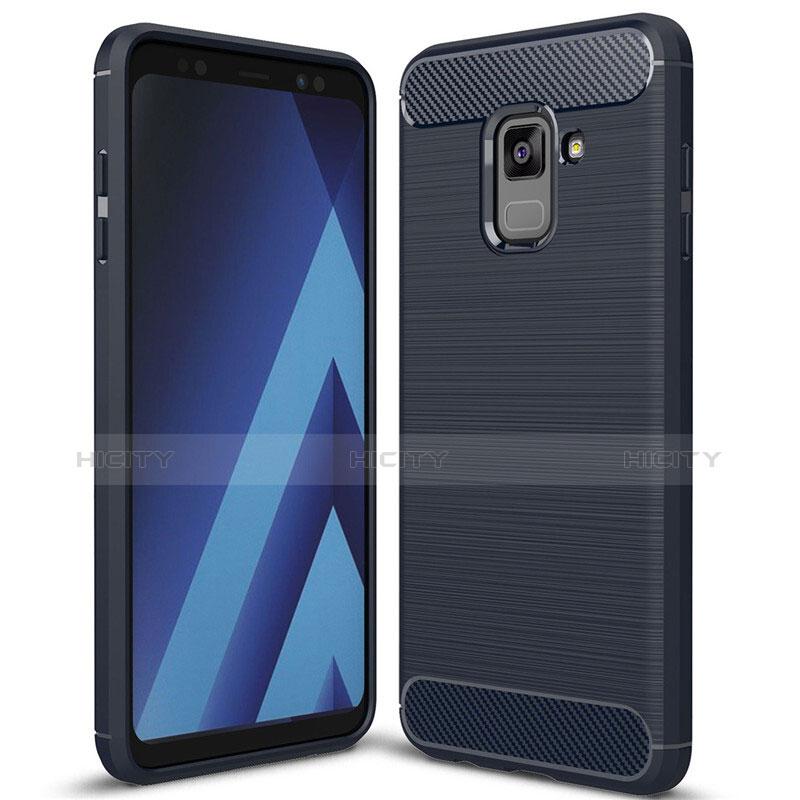 Samsung Galaxy A8+ A8 Plus (2018) Duos A730F用シリコンケース ソフトタッチラバー ツイル カバー サムスン ネイビー