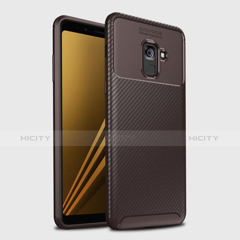 Samsung Galaxy A8+ A8 Plus (2018) Duos A730F用シリコンケース ソフトタッチラバー ツイル カバー S01 サムスン ブラウン