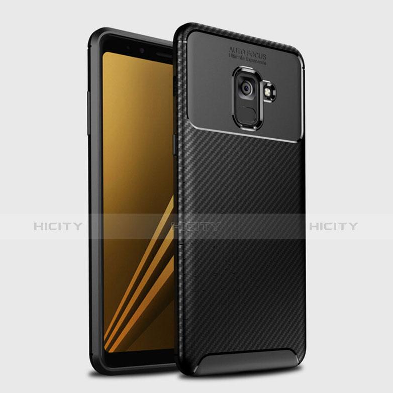Samsung Galaxy A8+ A8 Plus (2018) Duos A730F用シリコンケース ソフトタッチラバー ツイル カバー S01 サムスン ブラック