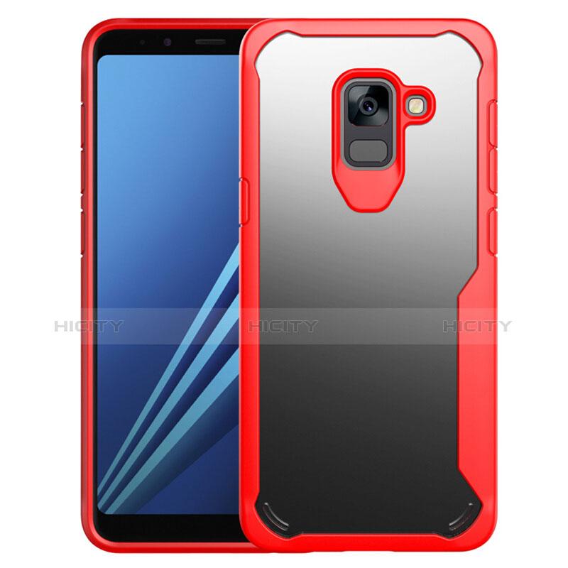 Samsung Galaxy A8+ A8 Plus (2018) Duos A730F用ハイブリットバンパーケース クリア透明 プラスチック 鏡面 カバー サムスン レッド
