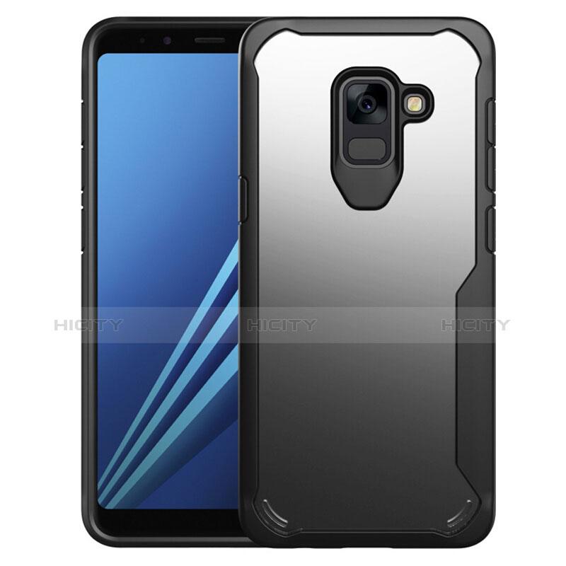 Samsung Galaxy A8+ A8 Plus (2018) Duos A730F用ハイブリットバンパーケース クリア透明 プラスチック 鏡面 カバー サムスン ブラック
