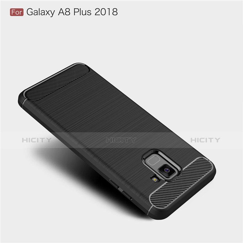 Samsung Galaxy A8+ A8 Plus (2018) Duos A730F用シリコンケース ソフトタッチラバー ツイル カバー サムスン