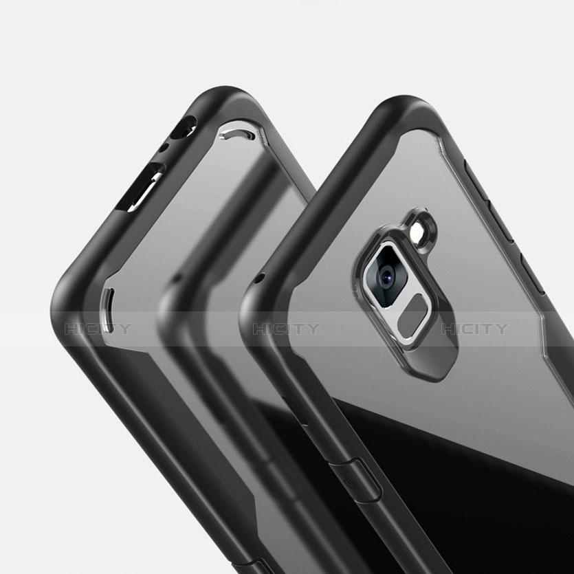 Samsung Galaxy A8+ A8 Plus (2018) Duos A730F用ハイブリットバンパーケース クリア透明 プラスチック 鏡面 カバー サムスン